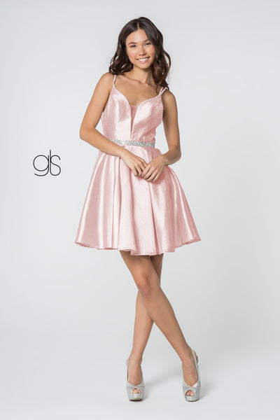 Short Satin Deep V-Neck Dress by Elizabeth K GS2843