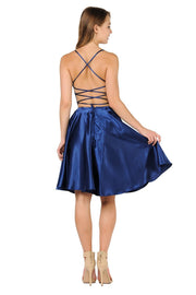 Short Satin Dress with Caged Open Back by Poly USA 9064-Short Cocktail Dresses-ABC Fashion