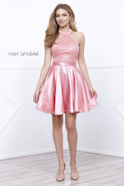 Short Satin Halter Dress with Lace Bodice by Nox Anabel 6217-Short Cocktail Dresses-ABC Fashion
