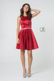 Short Satin High-Neck Halter Dress by Elizabeth K GS2851
