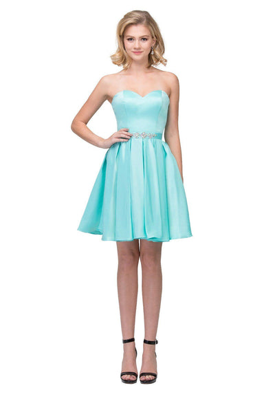 Short Satin Strapless Dress with Corset Back by Star Box 6129-Short Cocktail Dresses-ABC Fashion