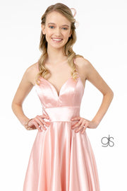 Short Satin V-Neck Dress by Elizabeth K GS2858