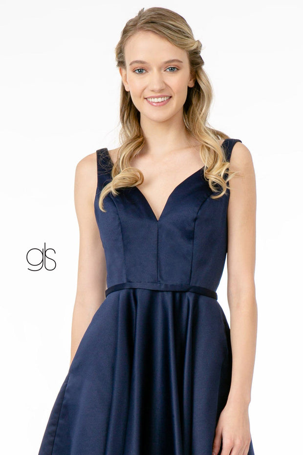 Short Satin V-Neck Dress with Pockets by Elizabeth K GS2854