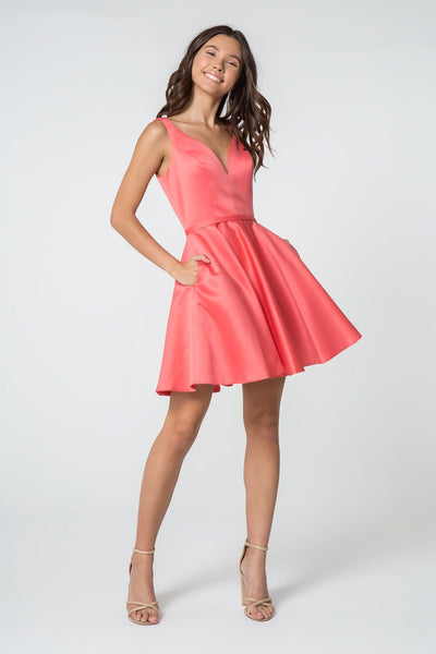 Short Satin V-Neck Dress with Pockets by Elizabeth K GS2854-Short Cocktail Dresses-ABC Fashion