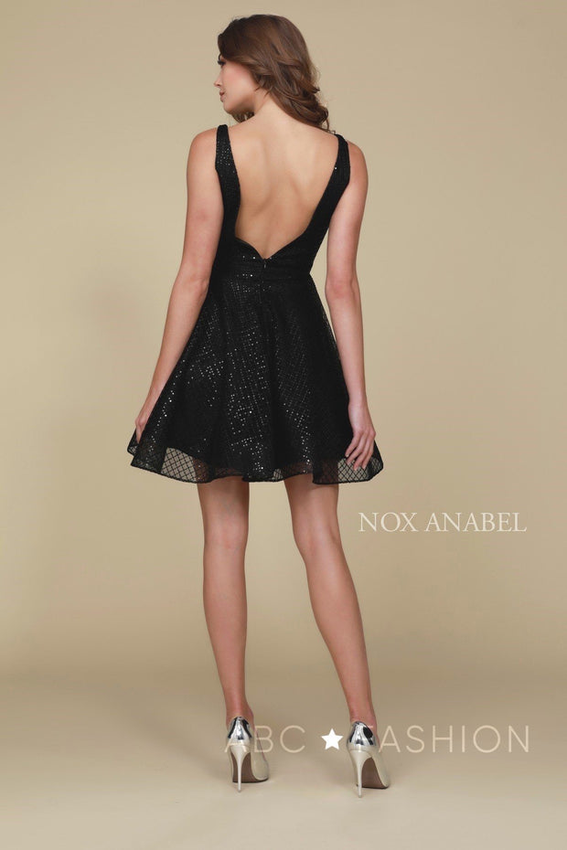 Short Semi-Formal Glitter Dress with Deep V-Neck by Nox Anabel M634-Short Cocktail Dresses-ABC Fashion