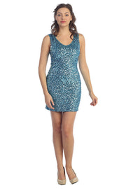 Short Sequined Mini Dress by Star Box SBS5001-Short Cocktail Dresses-ABC Fashion