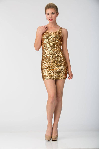 Short Sequined Mini Dress with Open Back by Star Box SBS5003-Short Cocktail Dresses-ABC Fashion