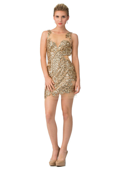 Short Sexy Sequin Sheer Mesh Dress by Star Box 6067-Short Cocktail Dresses-ABC Fashion