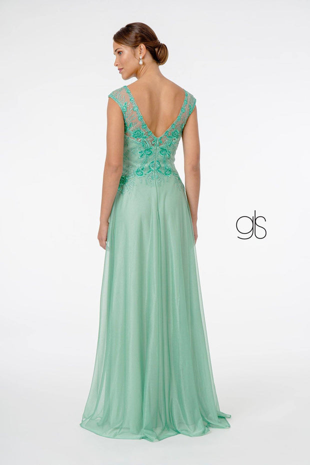 Cap Sleeve Embroidered Long Chiffon Dress by Elizabeth K GL1826