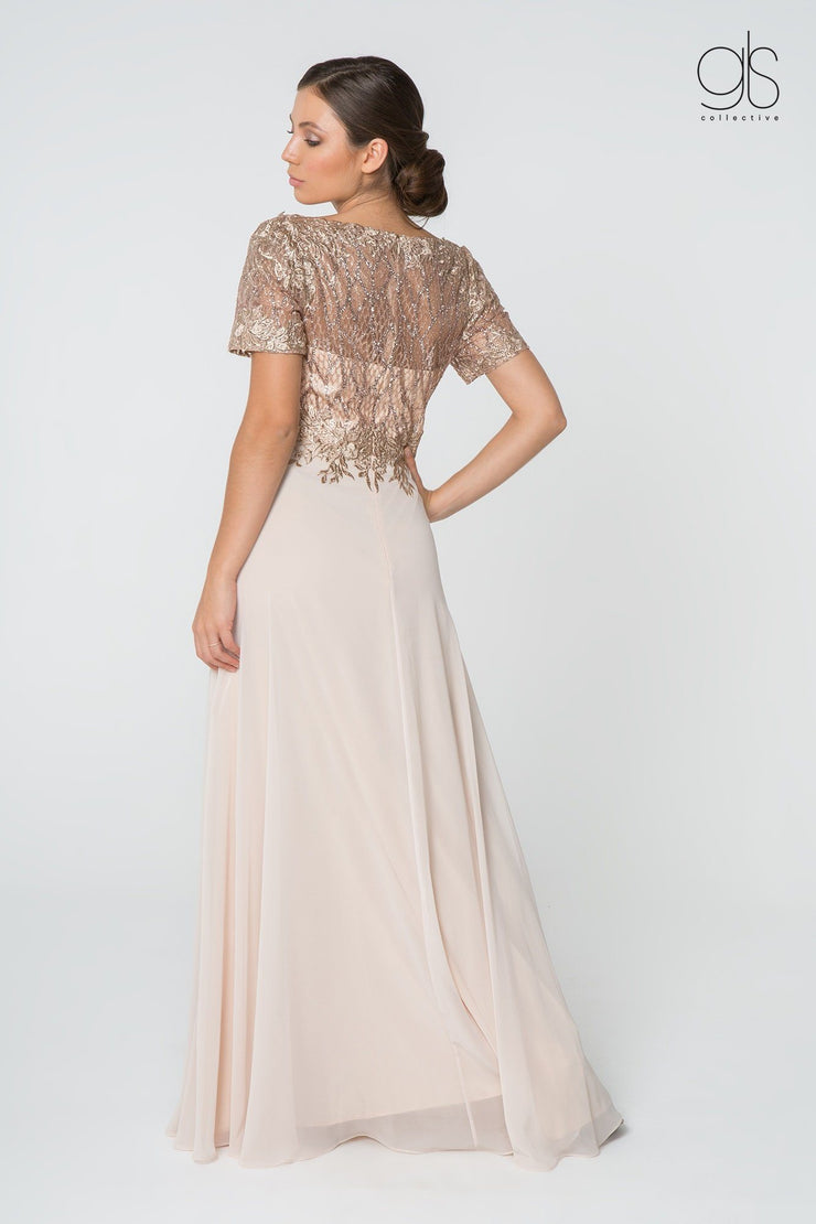 Short-Sleeve Gown with Glitter Lace Bodice by Elizabeth K GL2826-Long Formal Dresses-ABC Fashion