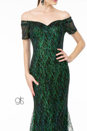 Short Sleeve Long Glitter Mermaid Dress by Elizabeth K GL1846