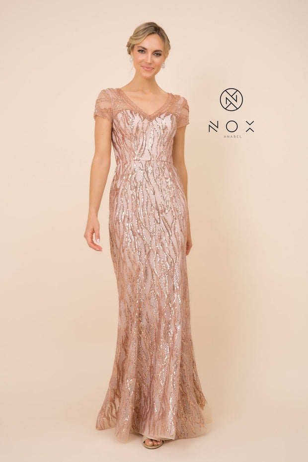 Short Sleeve Sequin Print Trumpet Gown by Nox Anabel T419