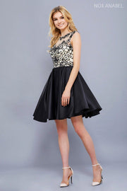 Short Sleeveless Dress with Beaded Bodice by Nox Anabel 6059-Short Cocktail Dresses-ABC Fashion