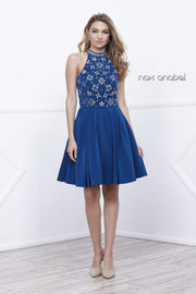 Short Sleeveless Dress with Floral Beaded Top by Nox Anabel 6230-Short Cocktail Dresses-ABC Fashion