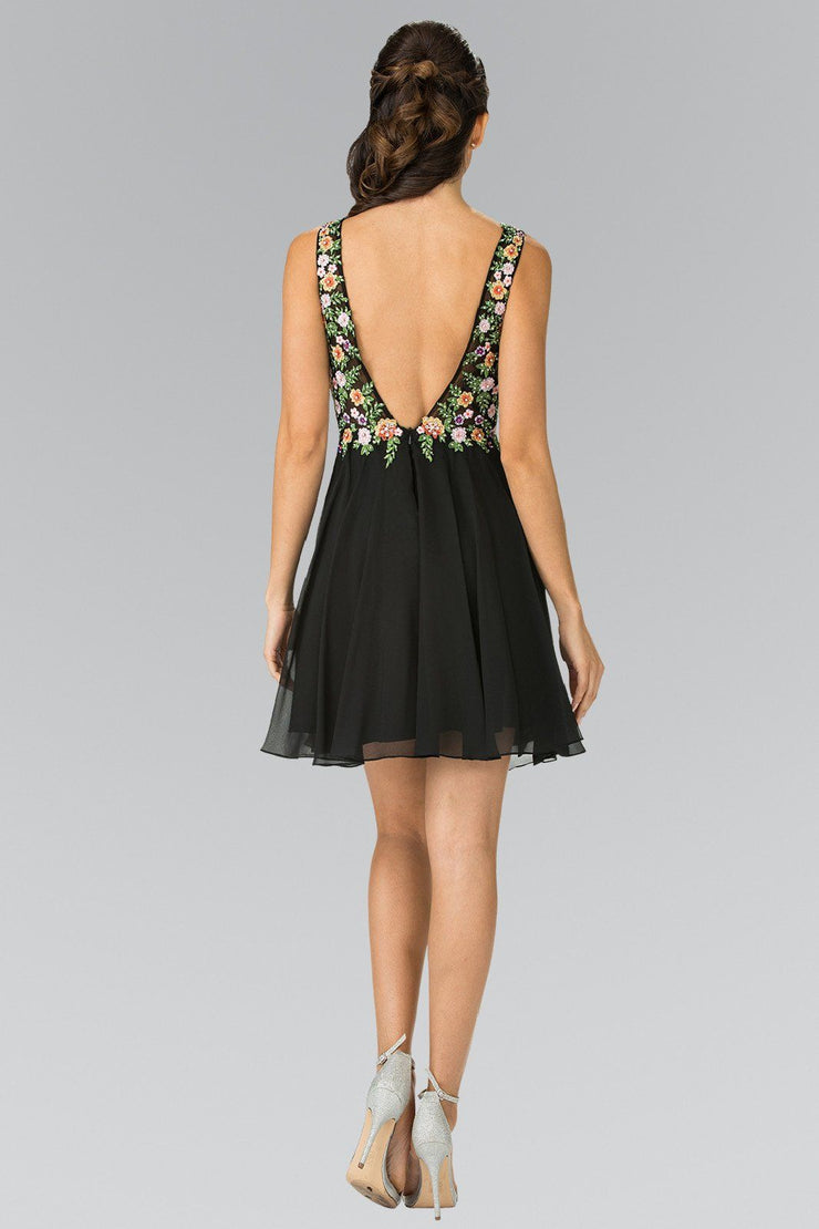 Short Sleeveless Dress with Floral Embroidery by Elizabeth K GS1429-Short Cocktail Dresses-ABC Fashion