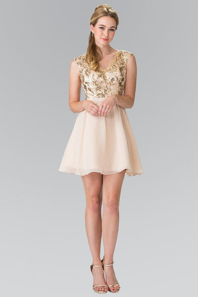 Short Sleeveless Dress with Sequined Top by Elizabeth K GS1430-Short Cocktail Dresses-ABC Fashion