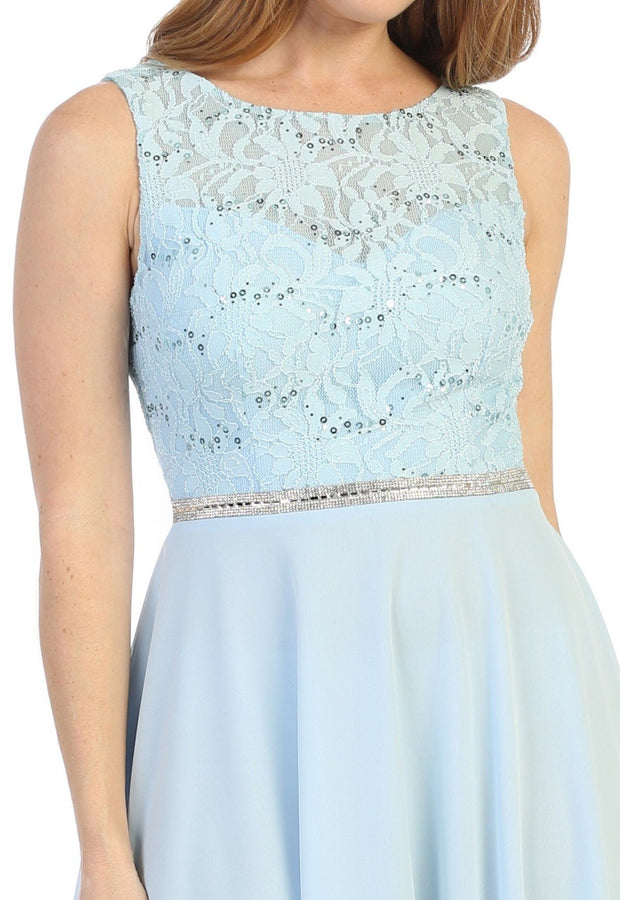 Short Sleeveless Floral Lace Bodice Dress by Celavie 6406