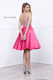Short Sleeveless Fuchsia Dress with Beaded Top by Nox Anabel 6256-Short Cocktail Dresses-ABC Fashion