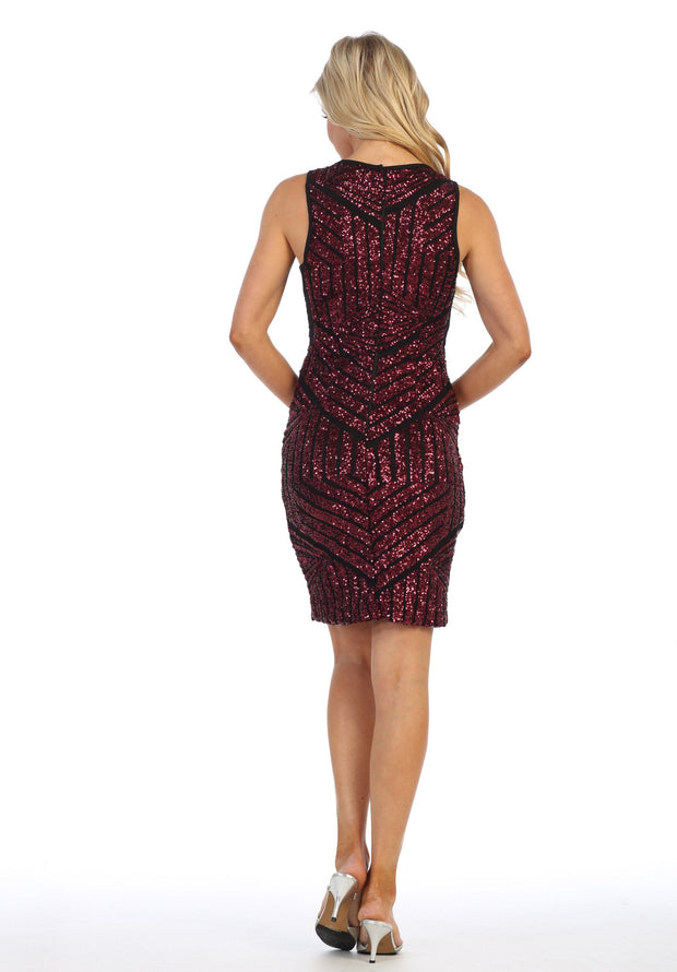 Short Sleeveless Geometric Sequin Dress by Celavie 6400-Short Cocktail Dresses-ABC Fashion