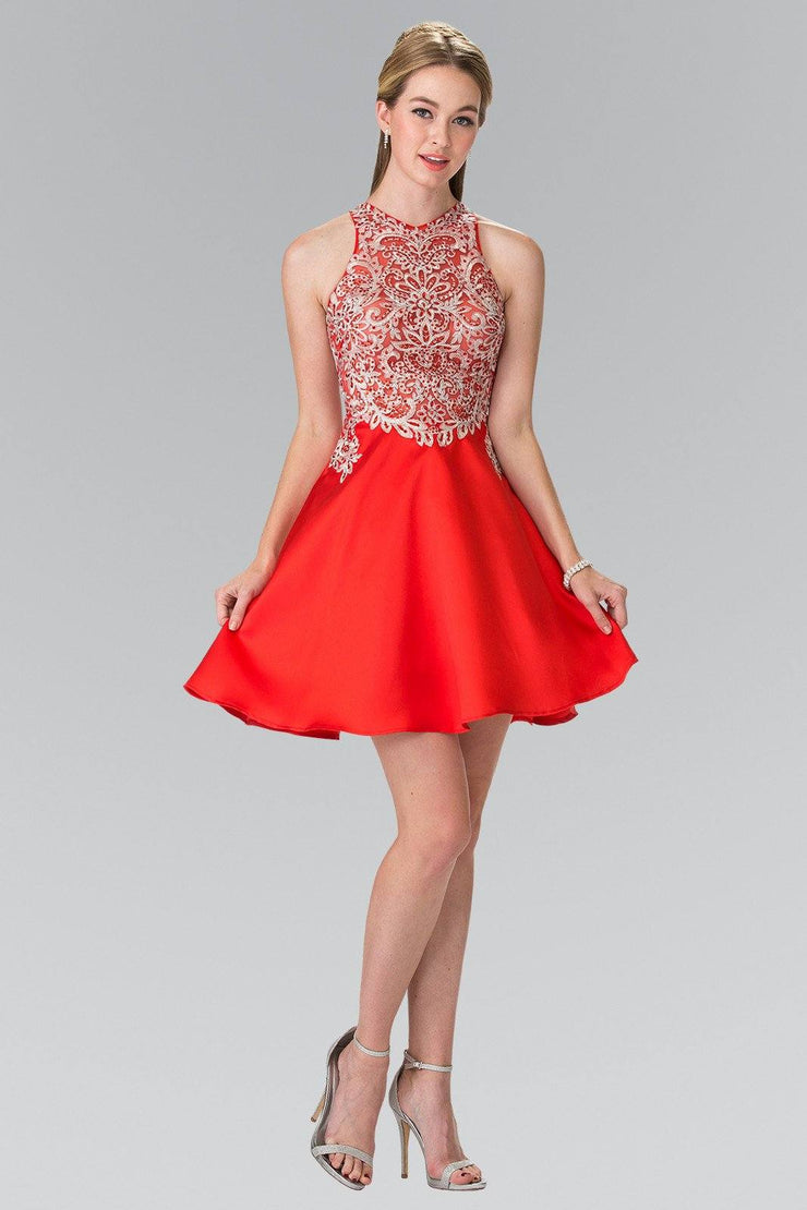 Short Sleeveless Illusion Dress with Embroidery by Elizabeth K GS1442-Short Cocktail Dresses-ABC Fashion