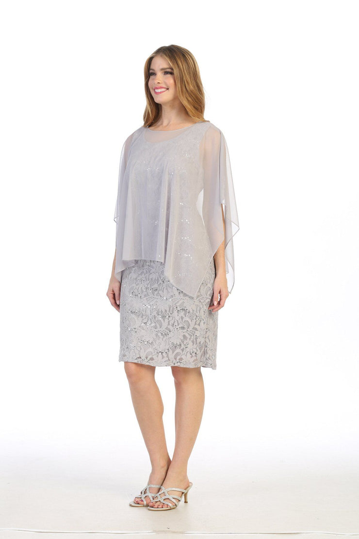 Short Sleeveless Lace Dress with Cape by Celavie 6365