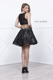 Short Sleeveless Lace Floral Embroidered Dress by Nox Anabel 6281-Short Cocktail Dresses-ABC Fashion