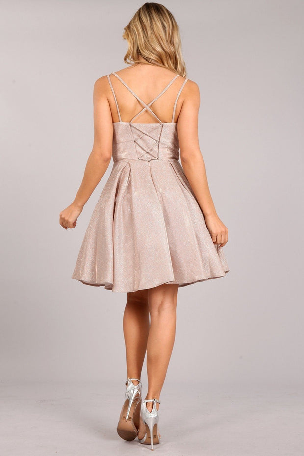 Short Sleeveless Metallic Glitter Dress by Cinderella Couture