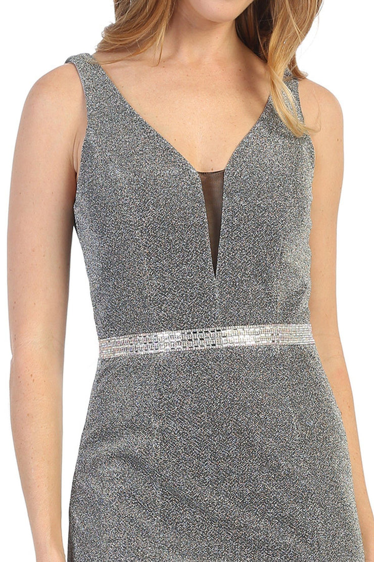 Short Sleeveless Metallic V-Neck Dress by Celavie 6483S