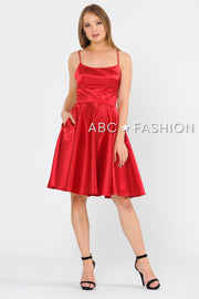 Short Sleeveless Satin Dress with Corset Back by Poly USA 9065-Short Cocktail Dresses-ABC Fashion