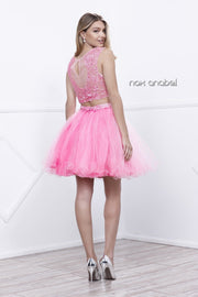 Short Sleeveless Two Piece Dress With Lace Top By Nox