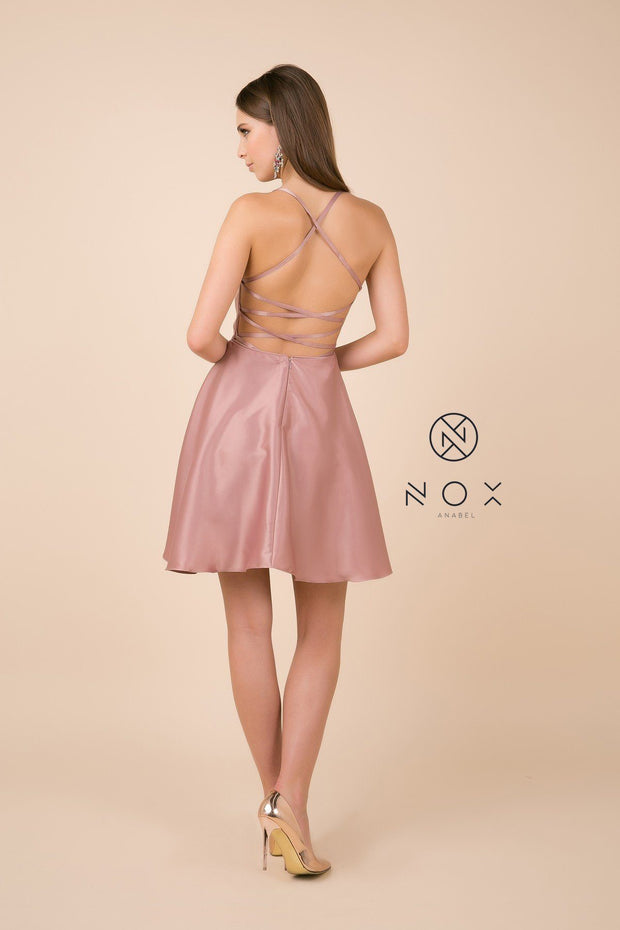 Short Spaghetti Strap Dress with Corset Back by Nox Anabel M658-Short Cocktail Dresses-ABC Fashion