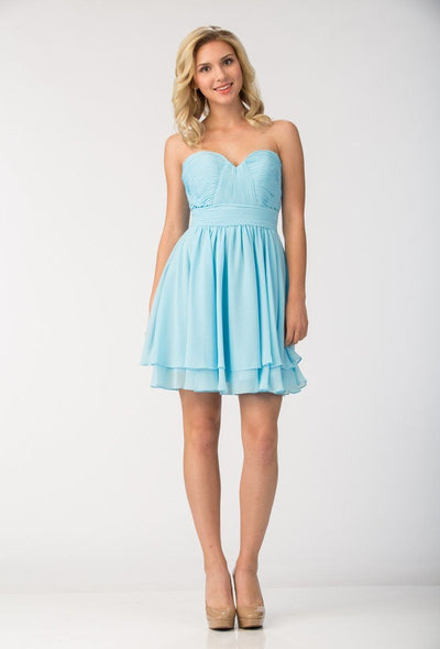 Short Strapless Chiffon Dress with Corset Back by Star Box 6097-Short Cocktail Dresses-ABC Fashion