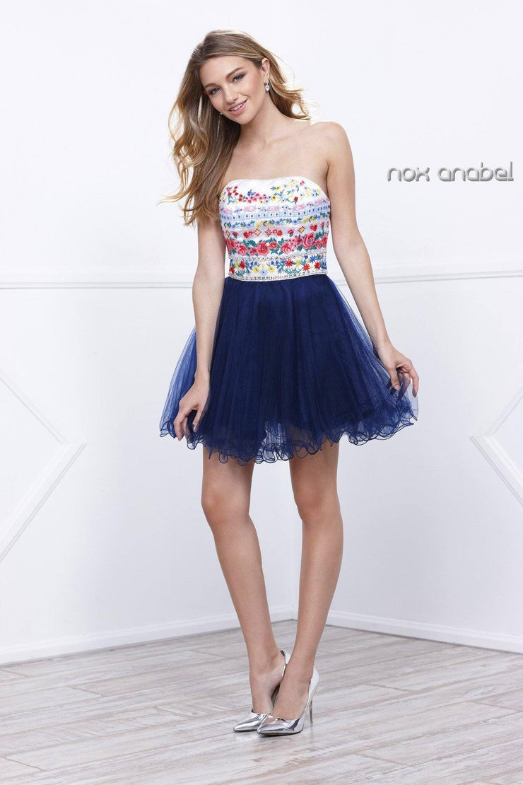Short Strapless Dress with Floral Embroidery by Nox Anabel 6249-Short Cocktail Dresses-ABC Fashion