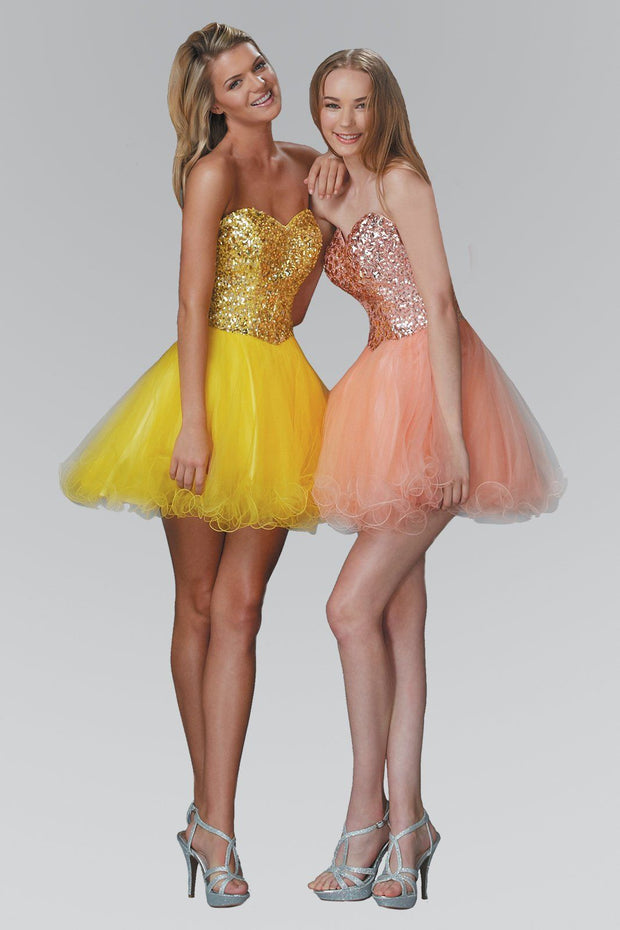 Short Strapless Dress with Jeweled Bodice by Elizabeth K GS2034-Short Cocktail Dresses-ABC Fashion