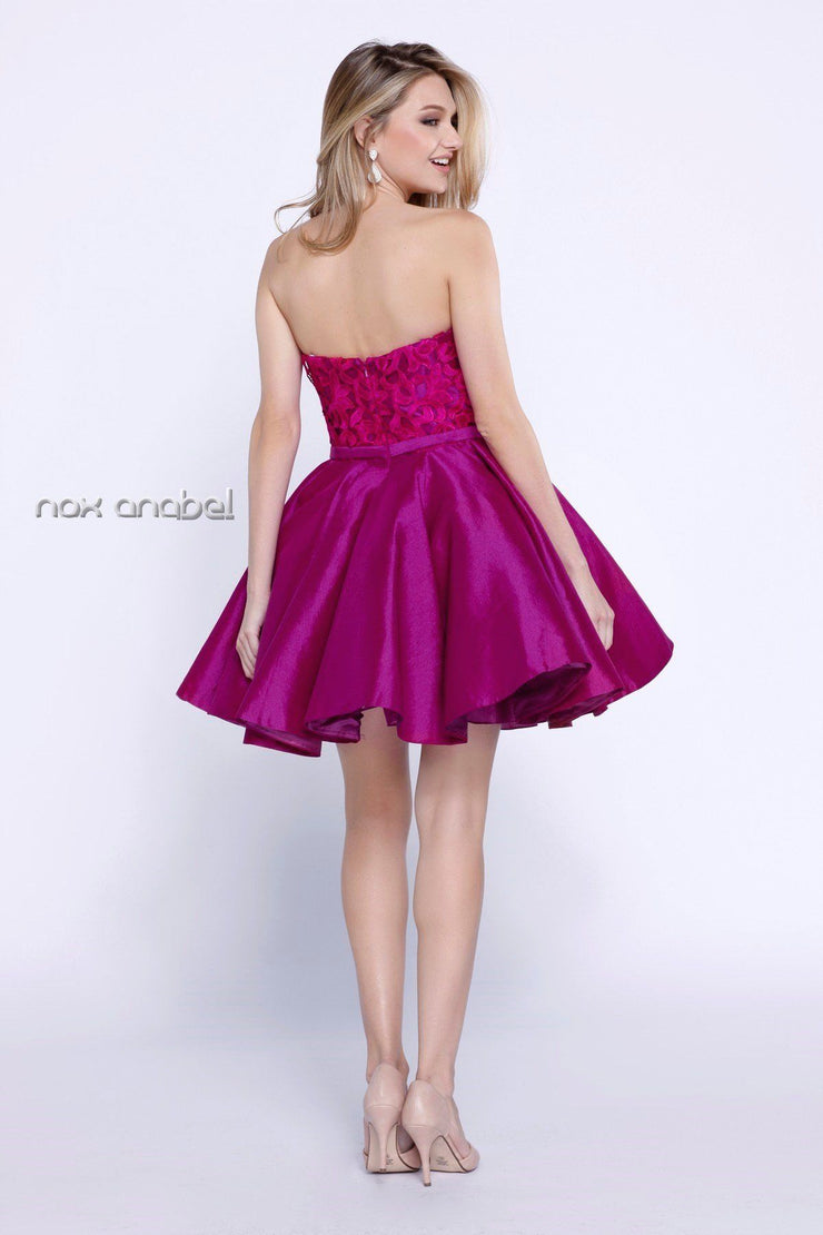 Short Strapless Dress with Lace Applique by Nox Anabel 6265-Short Cocktail Dresses-ABC Fashion