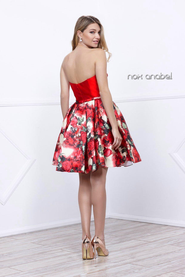 Short Strapless Floral Print Dress by Nox Anabel 6276-Short Cocktail Dresses-ABC Fashion
