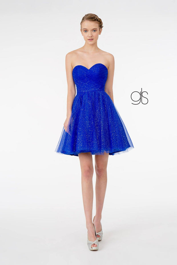 Short Strapless Glitter Dress with Corset Back by Elizabeth K GS2868