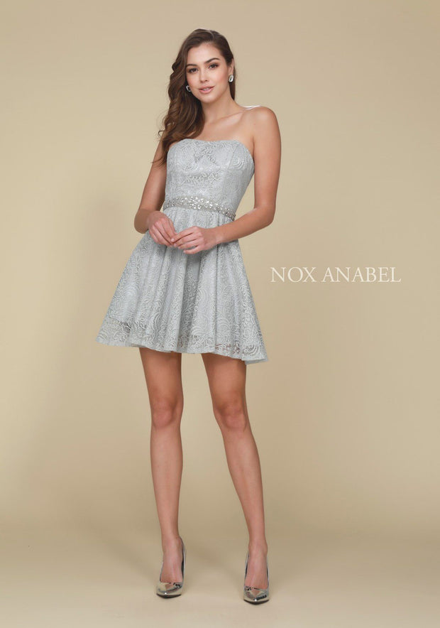 Short Strapless Lace Dress with Beaded Waist by Nox Anabel 6358-Short Cocktail Dresses-ABC Fashion