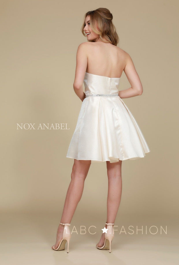 Short Strapless Satin Dress with Pockets by Nox Anabel Y661-Short Cocktail Dresses-ABC Fashion