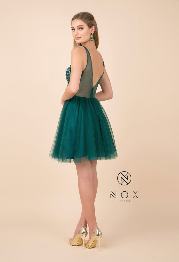 Short Tulle Dress with Beaded V-Neck Bodice by Nox Anabel G694-Short Cocktail Dresses-ABC Fashion