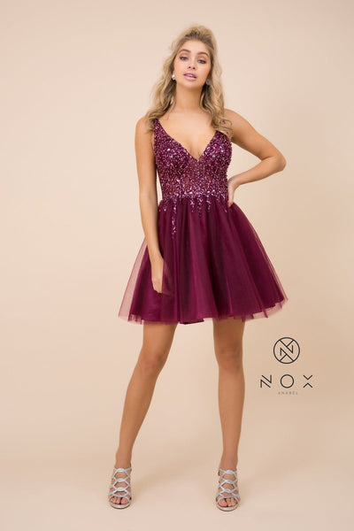 Short Tulle Dress with Beaded V-Neck Bodice by Nox Anabel G694