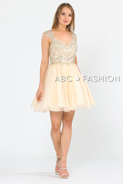 Short Tulle Dress with Embellished Bodice by Poly USA 8284-Short Cocktail Dresses-ABC Fashion