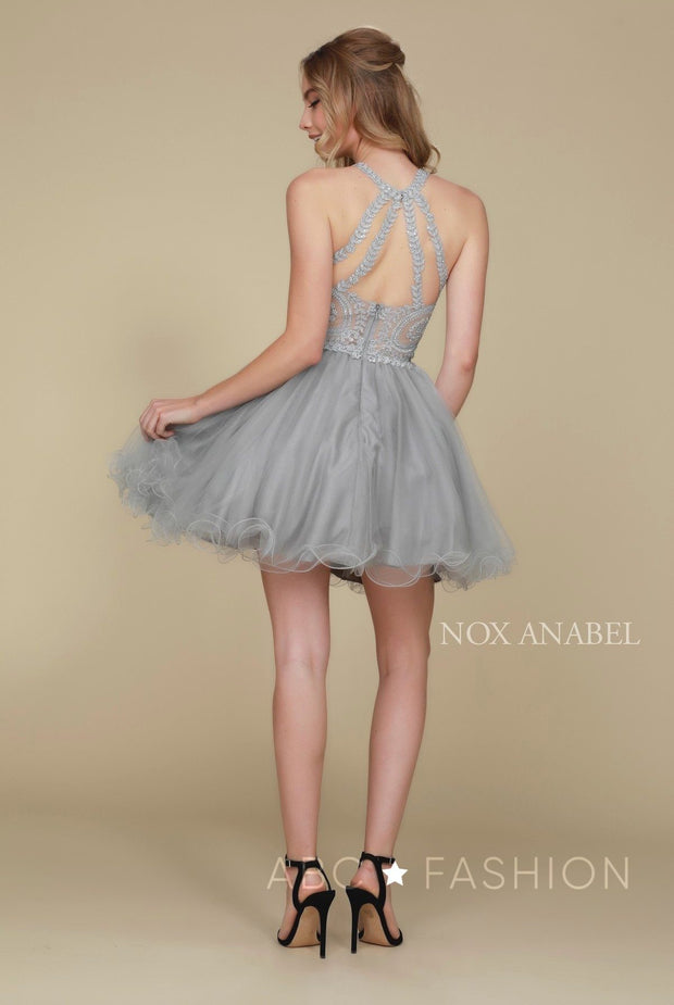 Short Tulle Dress with Embroidered Applique Bodice by Nox Anabel B652-Short Cocktail Dresses-ABC Fashion