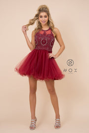 Short Tulle Dress with Embroidered Applique Bodice by Nox Anabel B652