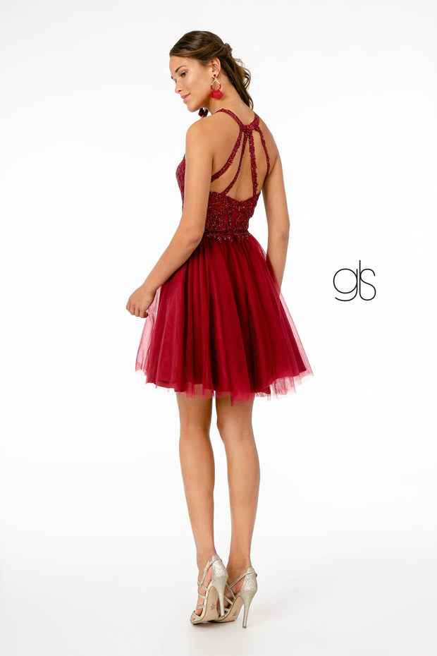 Short Tulle Dress with Embroidered Bodice by Elizabeth K GS2809
