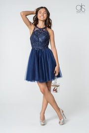 Short Tulle Dress with Embroidered Bodice by Elizabeth K GS2809-Short Cocktail Dresses-ABC Fashion