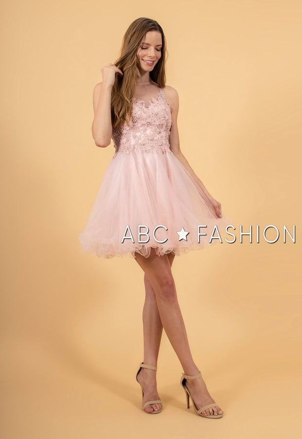 Short Tulle Dress with Floral Appliqued Bodice by Elizabeth K GS1607-Short Cocktail Dresses-ABC Fashion