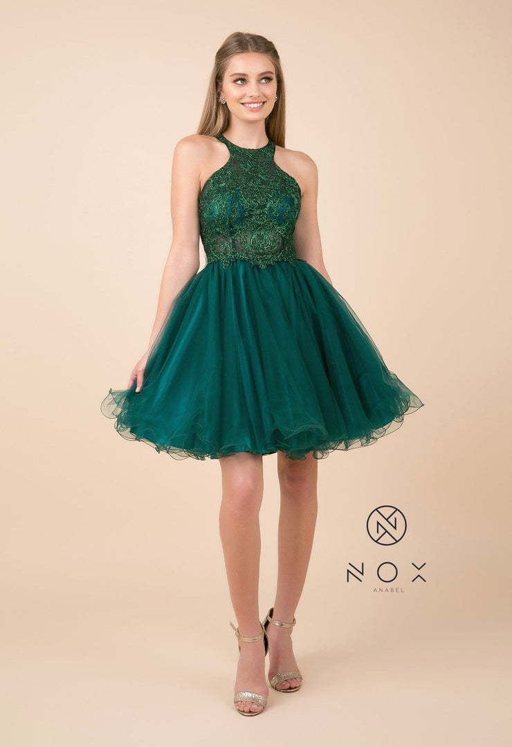 Short Tulle Dress with Halter Lace Bodice by Nox Anabel E696-Short Cocktail Dresses-ABC Fashion