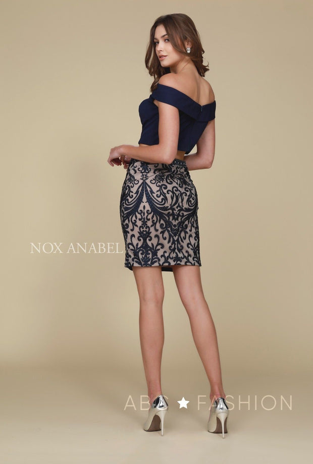 Short Two-Piece Dress with Embroidered Skirt by Nox Anabel E664-Short Cocktail Dresses-ABC Fashion