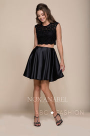 Short Two-Piece Dress with Lace Crop Top by Nox Anabel Q603-Short Cocktail Dresses-ABC Fashion
